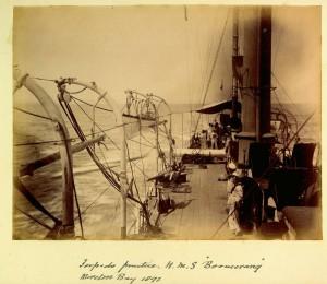 HMS_Boomerang_torpedo_practice_Moreton_Bay_1892_