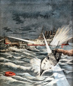 Russo-Japanese War 1904-1905: Opening of hostilities. Japanese torpedo boats making surprise attack on Port Arthur, 8 February 1904. From Le Petit Journal, Paris, 21 February 1904.