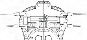 X.1 forward hydroplanes sectional view